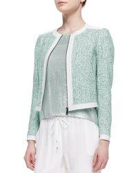 Elie Tahari Pearson Cropped Zip-front Jacket - Lyst