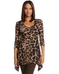 Karen Kane Leopard Print Handkerchief Top - Lyst