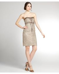 Sue Wong Taupe Crepe Woven Beaded Strapless Cocktail Dress - Lyst