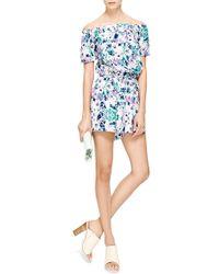 Piamita - Eugenie Shibori Turquoise Printed Silk Jumpsuit - Lyst