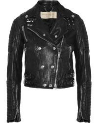 Burberry Brit - Cropped Leather Biker Jacket - Lyst