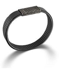John Hardy Station On Black Stripe Leather Bracelet with Black Oxidation - Lyst