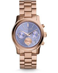 Michael Kors Runway Rose Goldtone Stainless Steel Chronograph Bracelet Watch/Lavender - Lyst
