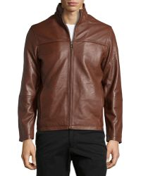 Emanuel Ungaro Lambskin Standcollar Jacket Chocolate Large - Lyst