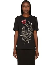 Alexander McQueen Black Embellished Tulip and Skull T_shirt - Lyst