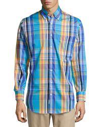 Peter Millar Madras Plaid Poplin Sport Shirt - Lyst