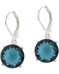 Anne Klein - Blue Stone And Silvertone Drop Earrings - Lyst