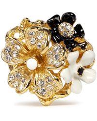Kenneth Jay Lane Crystal Pavé Enamel Flower Ring - Lyst