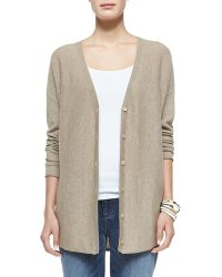 Eileen Fisher Cashmere Jersey V-Neck Cardigan - Lyst