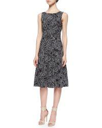 Oscar de la Renta Scribble Rose-Print Dress - Lyst