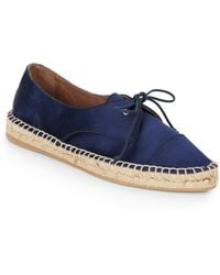 Tabitha Simmons Dolly Silk  Leather Lace-up Espadrilles - Lyst