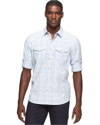 Calvin Klein Plaid Plain Weave Roll-Tab Shirt - Lyst