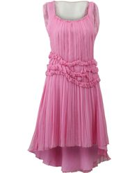 Alberta Ferretti Chiffon High Low Dress - Lyst