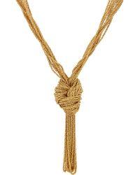 Aurelie Bidermann Knotted Rope Necklace gold - Lyst