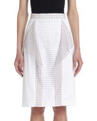 3.1 Phillip Lim Draped-Panel Stretch Cotton Eyelet Skirt - Lyst
