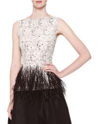Carolina Herrera Sleeveless Lace Blouse with Feather Trim - Lyst