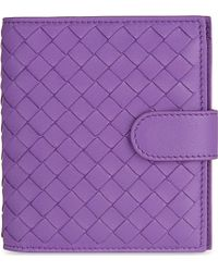 Bottega Veneta Intrecciato French Wallet - For Men purple - Lyst
