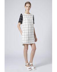 Topshop Side Pocket Grid Tunic Dress  Monochrome - Lyst