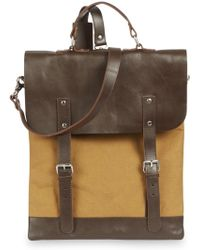 Enter # - Sand Brown Canvas And Leather Backpack - Lyst