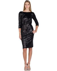 Badgley Mischka | Sequin Cowl Back Cocktail Dress | Lyst
