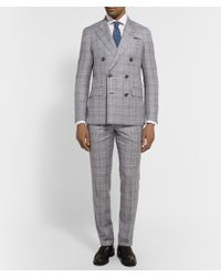 Hackett - Grey Double-Breasted Prince Of Wales Checked Wool Suit - Lyst
