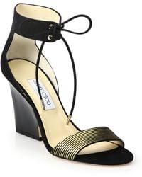 Jimmy Choo Morena Metallic-Striped Leather Wedge Sandals gold - Lyst