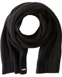 Michael by Michael Kors Black Ribbed Scarf - Lyst