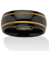 Palmbeach Jewelry - Grooved Wedding Band In Black Ion-plated Stainless Steel With Golden Accents - Lyst