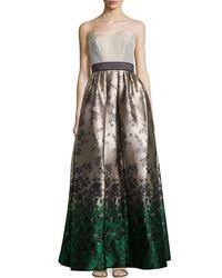 Carolina Herrera Strapless Floral Jacquard Ball Gown - Lyst