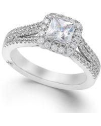 Marchesa Celeste Halo By Certified Diamond Split Shank Engagement Ring In 18K White Gold (1-1/5 Ct. T.W.) white - Lyst