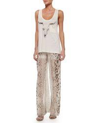 Haute Hippie High-Waist Snake-Print Wide-Leg Pants - Lyst