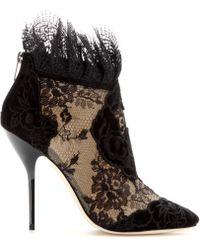 Jimmy Choo Kamaris Suede and Lace Ankle Boots - Lyst