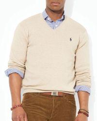 Ralph Lauren Polo Pima Cotton V-Neck Sweater - Lyst