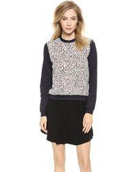 Carven Lace Sweatshirt - Ecru - Lyst