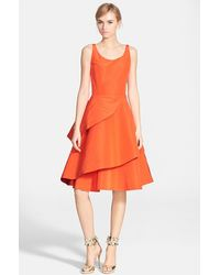 Oscar de la Renta Wrap Ruffle Silk Faille Fit & Flare Dress - Lyst
