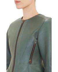 Cedric Charlier Leather Peplum Jacket - Lyst