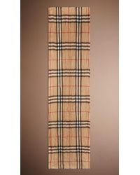 Burberry Heritage Check Crinkled Cashmere Scarf - Lyst