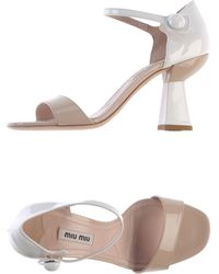 Miu Miu Beige Sandals - Lyst