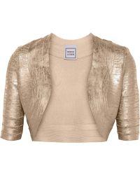 Hervé Léger Cropped Metallic Bandage Jacket - Lyst