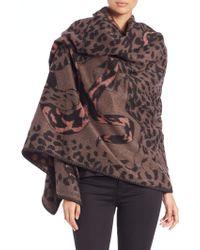Alexander McQueen | Leopard & Snake Fight Wool Blanket Scarf | Lyst