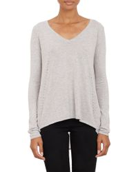 Barneys New York Split Back Layered Pullover Sweater - Lyst