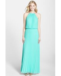Xscape Pleated Chiffon Blouson Dress - Lyst