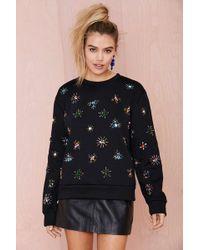 Nasty Gal Jeweling Over You Beaded Sweatshirt - Lyst