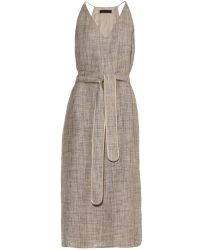 The Row Nahel Linen Belted Midi Dress - Lyst