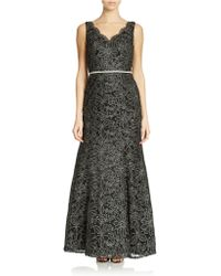 Js Collections Floral Embroidered Fit and Flare Gown - Lyst
