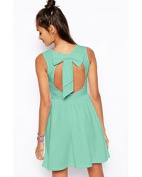 Asos Mini Skater Dress with Bow Back - Lyst