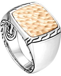 John Hardy Silver Signet Ring With Hammered Bronze - Lyst