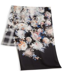 Roberto Cavalli - Checked Floral Silk Scarf - Lyst