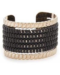 Pluma - Large Woven Leather Cuff Bracelet - Lyst