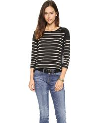 Madewell Stripe Block Long Sleeve Top True Black - Lyst
